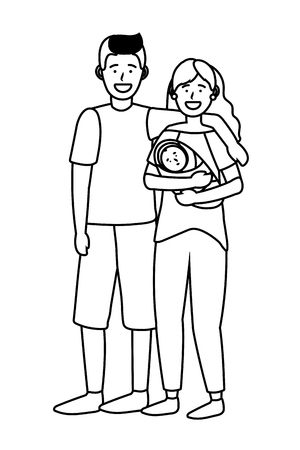 couple with baby avatar cartoon character black and white vector illustration graphic design Ilustrace