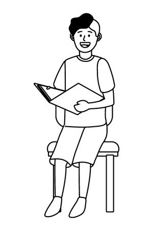 man sitting on a chair avatar cartoon character black and white vector illustration graphic design