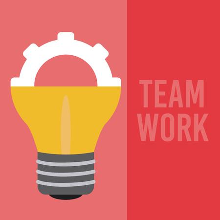 Teamwork gear inside bulb light vector illustration graphic design