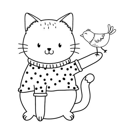 cute cat with bird woodland character vector illustration design Foto de archivo - 121482853