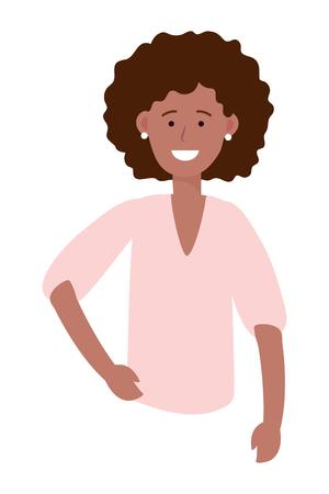 woman portrait avatar cartoon character afroamerican vector illustration graphic design