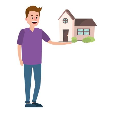 real estate man looking for house to buy cartoon vector illustration graphic design Ilustración de vector