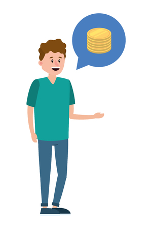 young man thinking in saving money coins speech bubble cartoon vector illustration graphic design