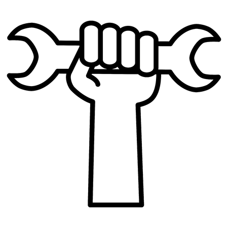 hand with wrench key tool vector illustration design 向量圖像