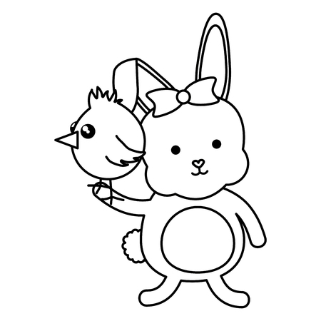 little chick and rabbit easter characters vector illustration design  イラスト・ベクター素材