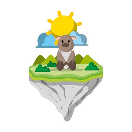 플로트 섬 벡터 일러스트 레이 션의 여성 사슴 동물