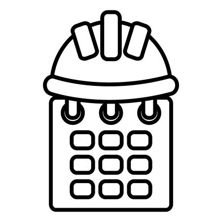 builder helmet with calendar vector illustration design Stock Illustratie