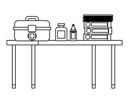 healthcare medical elements over desk cartoon vector illustration graphic design  イラスト・ベクター素材