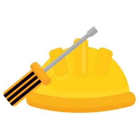 builder helmet with screwdriver vector illustration design  イラスト・ベクター素材