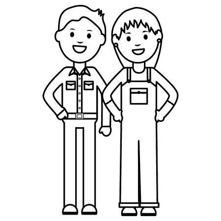 young businessman with woman builder vector illustration design