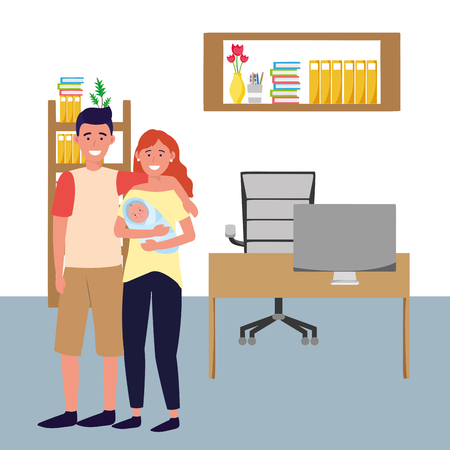 couple with baby avatar cartoon character indoor studio office vector illustration graphic design