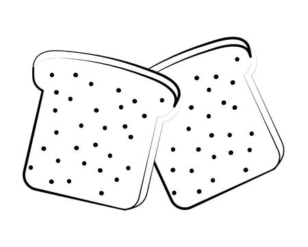 Deliciosa comida sabrosa tostada pan de dibujos animados ilustración vectorial diseño gráfico