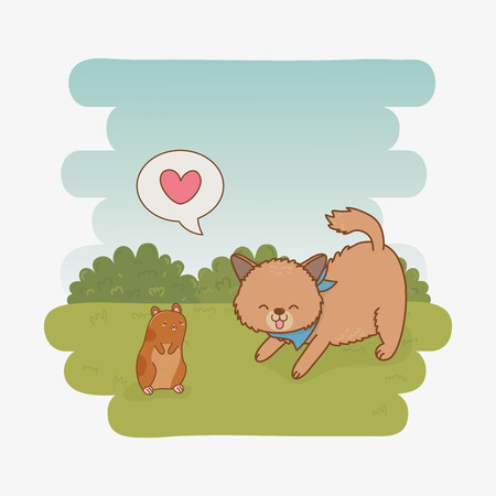 cute little doggy and guinea pig mascots vector illustration design