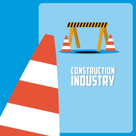 Construction industry with barrier and traffic cone vector illustration graphic design Иллюстрация