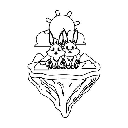 linea coppia coniglio animale nell'isola galleggiante illustrazione vettoriale Vettoriali