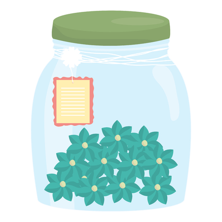 mason jar glass with flowers and tag hanging vector illustration design Ilustração