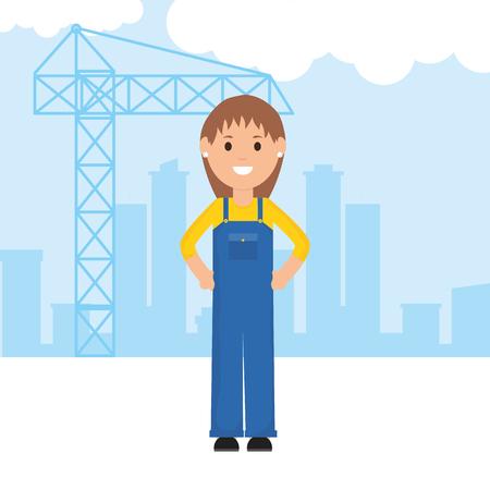 female builder worker character vector illustration design