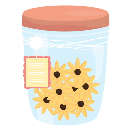 mason jar glass with flowers and tag hanging vector illustration design