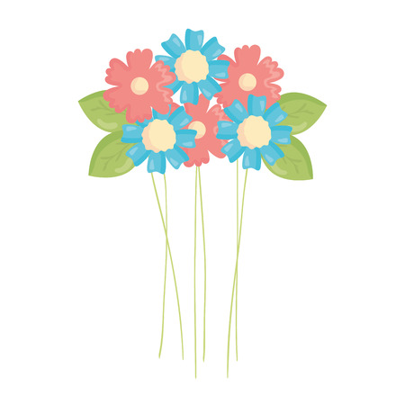 beautiful flowers garden decoration vector illustration design
