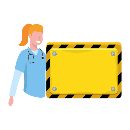 labor day job career healthcare medic doctor nurse with board sign cartoon vector illustration graphic design