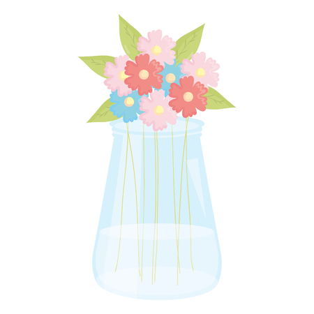 mason jar glass with floral decoration vector illustration design 일러스트