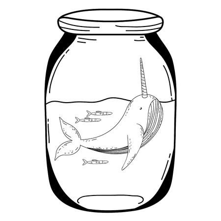 cute narval in mason jar vector illustration design Ilustrace
