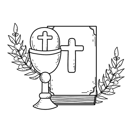 sacred chalice with holy bible vector illustration design 矢量图像