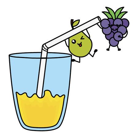 glass with juice grapes fresh fruit kawaii character vector illustration design