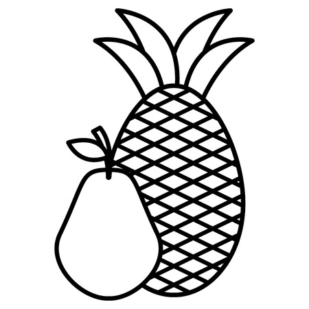 pear and pineapple fresh fruits vector illustration design