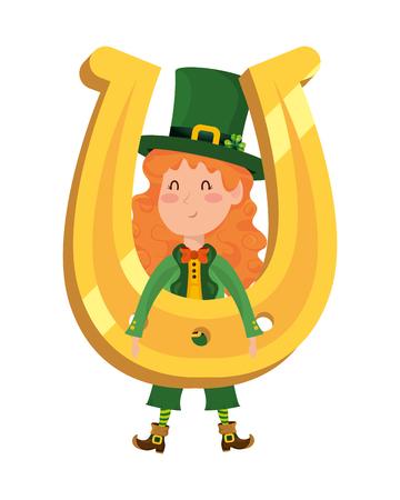 st patricks day elf with horseshoe cartoon vector illustration graphic design
