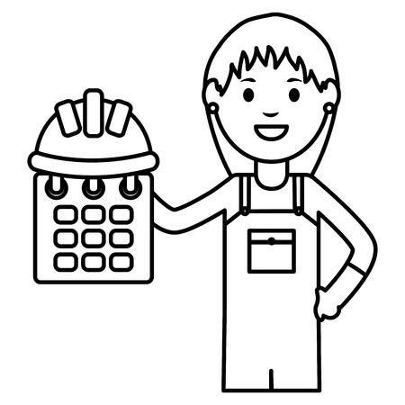 female builder worker with helmet and calendar vector illustration design Vectores