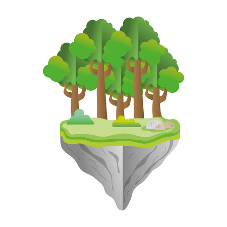 exotic trees and bushes in the float idland vector illustration