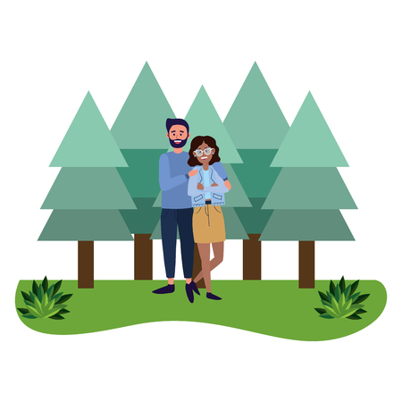 young people friends couple enjoying at nature park cartoon vector illustration graphic design
