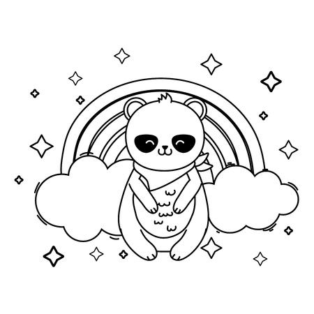 cute little animal panda bear in front rainbow cartoon vector illustration graphic design Illustration