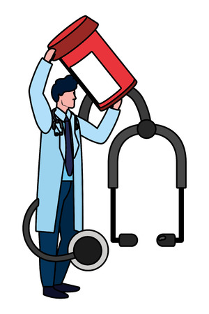 healthcare medical doctor man with hospital elements cartoon vector illustration graphic design