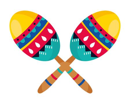 mexican culture mexico maracas instruments cartoon vector illustration graphic design