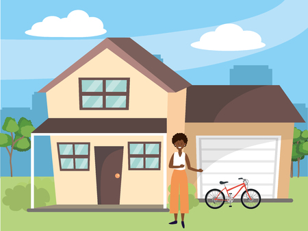casual happy people young woman at urban big house home cartoon vector illustration graphic design Stock Illustratie