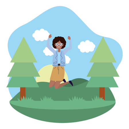 young happy woman at nature park jumping cartoon vector illustration graphic design 向量圖像