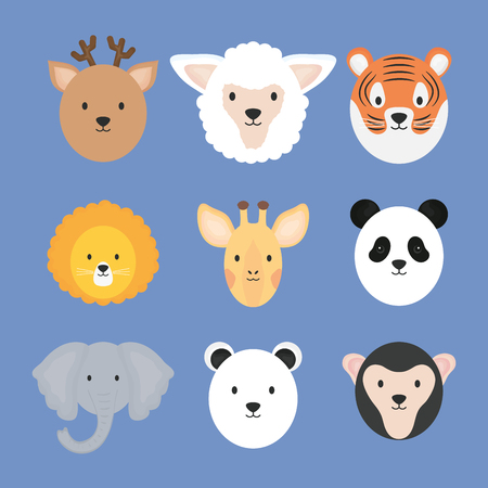 group of cute animals characters vector illustration design Foto de archivo - 122943875
