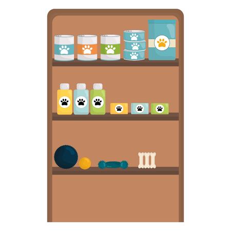 pet shop wooden shelving vector illustration design 向量圖像