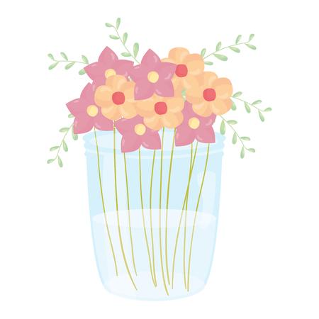 mason jar glass with floral decoration vector illustration design  イラスト・ベクター素材