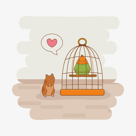 cute little parrot and guinea pig mascots vector illustration design