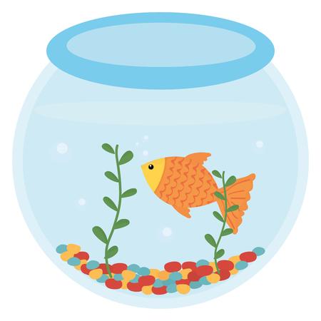 fish pet in aquarium vector illustration design