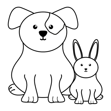 cute little rabbit with dog vector illustration design Illustration