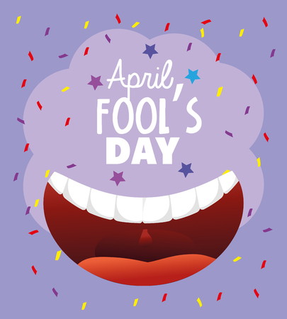 smile mouth with teeth to fools day vector illustration