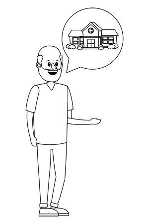 Immobilien-Mann sucht Haus, um Cartoon-Vektor-Illustration-Grafik-Design zu kaufen