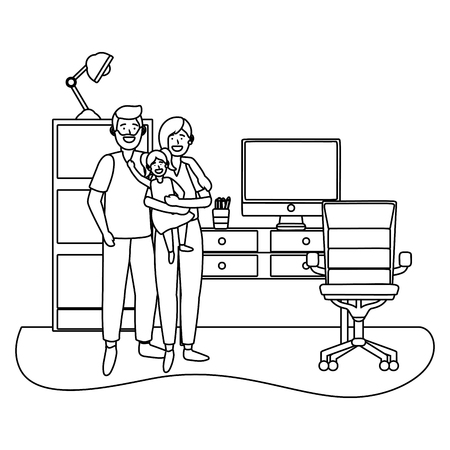 couple with child avatar cartoon character indoor studio office black and white vector illustration graphic design Vettoriali