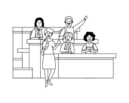 student having a class avatar cartoon character black and white vector illustration graphic design