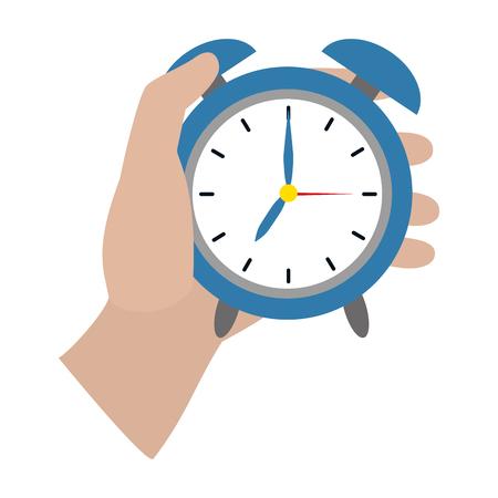 human hand holding clock cartoon vector illustration graphic design