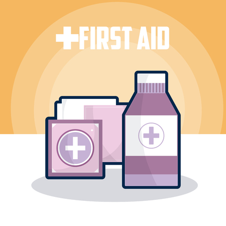First aid medicine bottle and bandage vector illustration graphic design
